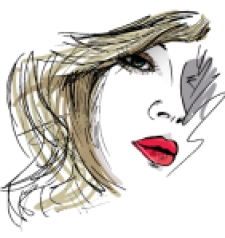 Hand drawn sketch of Beautiful Woman face illustration